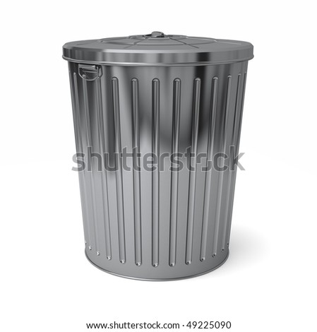 A shiny new trash can with it's lid on top - stock photo
