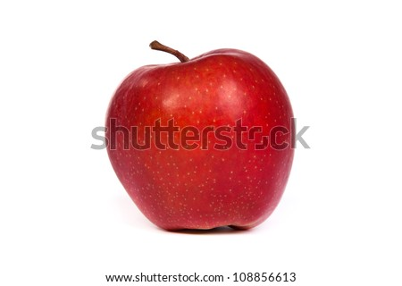 A shiny red apple isolated on a white background - stock photo