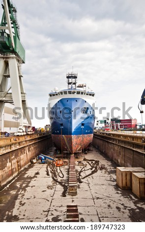 A ship in a dock in Denmark, Frederikshavn. X Bow design type offshore vessel - stock photo