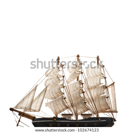 A ship model isolated on white background. copy space on top - stock photo