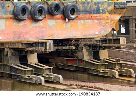 A ship on a dry dock, Holland  - stock photo