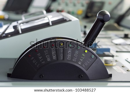 A ships telegraph close up - HALF SPEED AHEAD - stock photo
