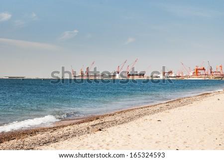 a shipyard beside the Bohai, China - stock photo