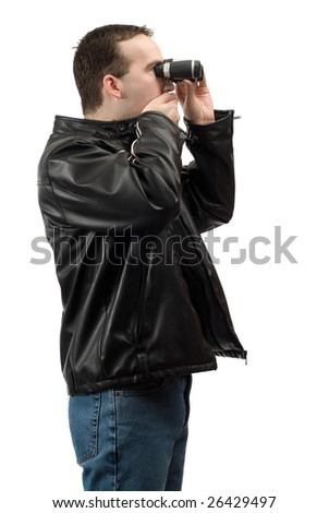 A shocked spectator covering his mouth while looking through a pair of binoculars, isolated against a white background - stock photo
