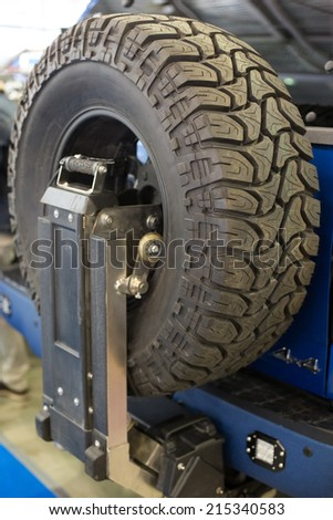 A shoot of offroad spare tire - stock photo
