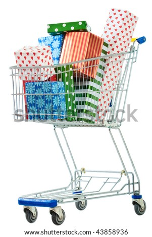 A shopping cart filled with colorful gifts on white. - stock photo