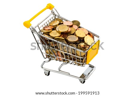a shopping cart is filled with euro coins, symbolic photo for purchasing power, inflation and consumer - stock photo