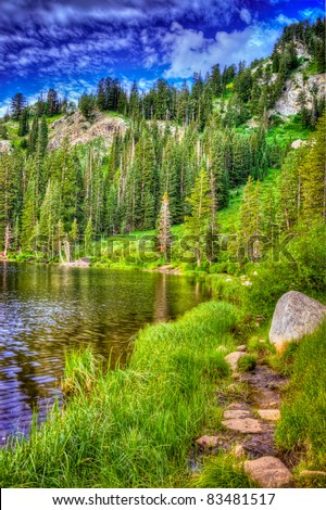 A shot looking at Silver Lake in Utah. - stock photo