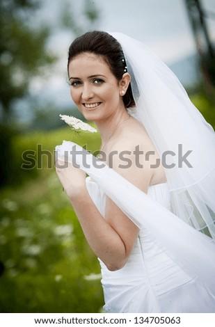 A shot of a beautiful caucasian bride outdoor - stock photo