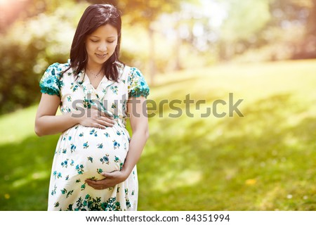 A shot of a beautiful pregnant Asian woman outdoor - stock photo