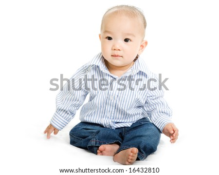 A shot of a cute asian baby boy on white background - stock photo