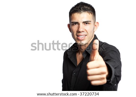 A shot of a hispanic businessman giving a thumbs up - stock photo