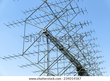 a shot of a military radar antenna - stock photo