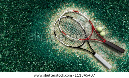 A shot of a tennis racquet and tennis balls on the tennis court - stock photo