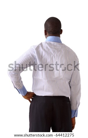 a shot of african american businessman from back isolated - stock photo