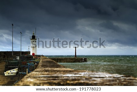 A shot of Anstruther Harbor in Scotland - stock photo