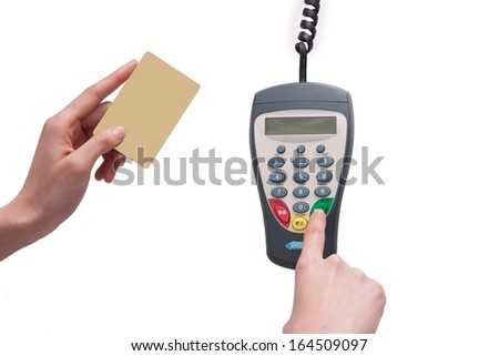 A shot of Credit cards and POS machine - stock photo