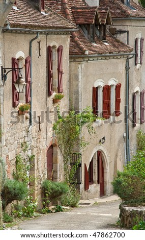 A sight of a small street in Saint-Cirq Lapopie village - stock photo