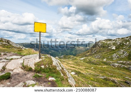 A sign on the tallest mountain near Bergen City in Norway - stock photo