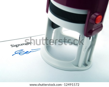 A signature and a seal - stock photo