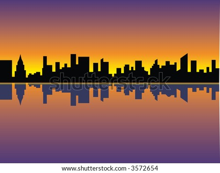 A silhouette illustration of the Manhattan skyline reflected in the East River at sunset. Vector format also available. - stock photo
