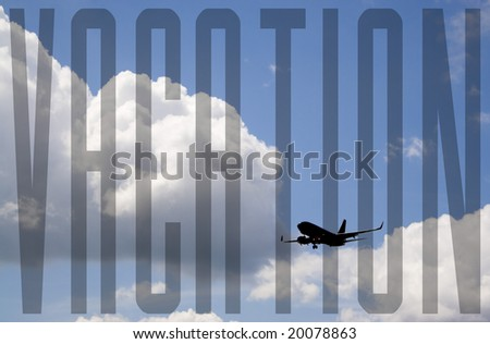 A silhouette of a commercial passenger plane over a blue sky in its descent to land. - stock photo