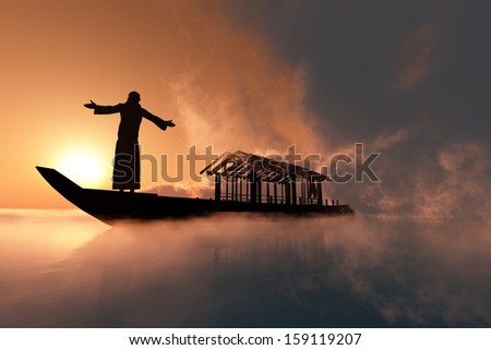 A silhouette of a priest  in a boat - stock photo