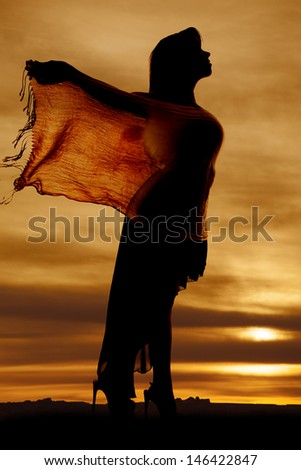 a silhouette of a woman holding on to a flowing part of her dress - stock photo