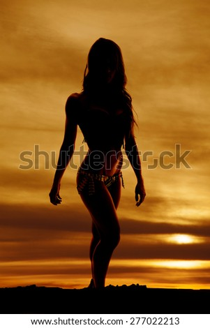a silhouette of a woman in her bikini looking forward. - stock photo