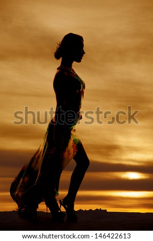 A silhouette of a woman in her long formal dress. - stock photo