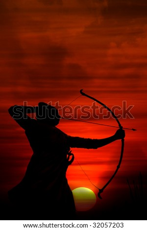 A silhouette of an archer aiming at the enemy at sunrise during an ancient war. - stock photo