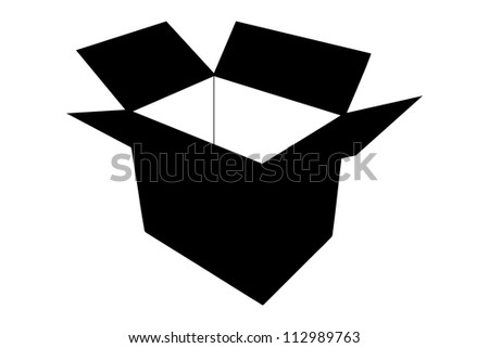 A silhouette of an empty paper box isolated on white background - stock photo