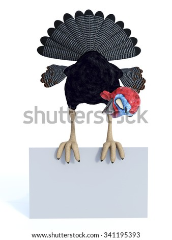 A silly, smiling cartoon turkey sitting on top of a blank screen and looking down on it. White background. - stock photo