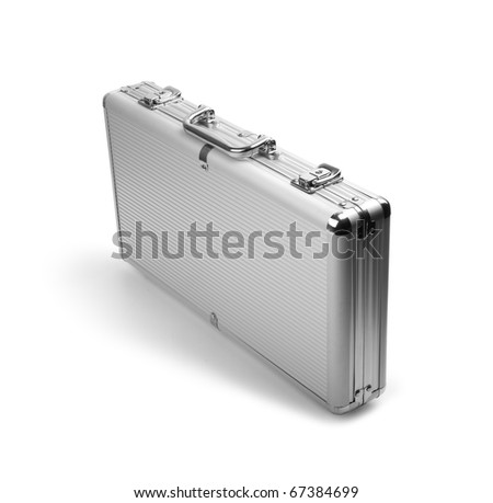 A silver briefcase costs on a white background. Isolated path included - stock photo