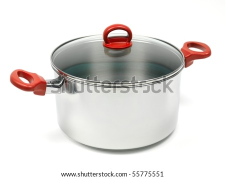 A silver cooking pot isolated against a white background - stock photo