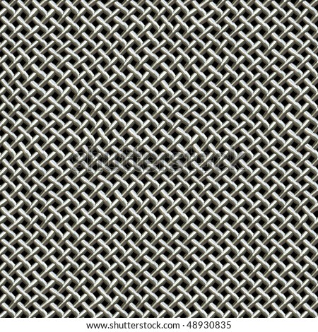 A silver metal wire mesh texture found on microphones.  This tiles seamlessly as a pattern in all directions. - stock photo