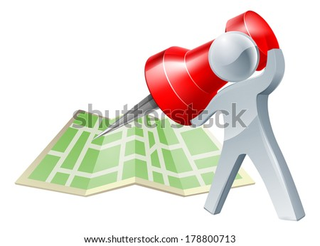 A silver person about to mark a location on a map with a map pin or tack or make a decision about where to go - stock photo