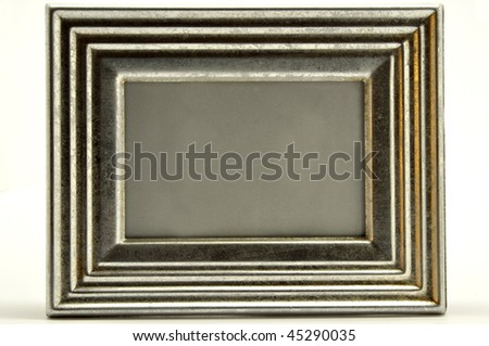 a silver picture frame isolated on a white background - stock photo