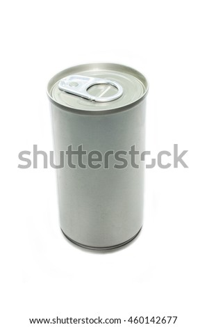 A silver tin can isolated on white background - stock photo