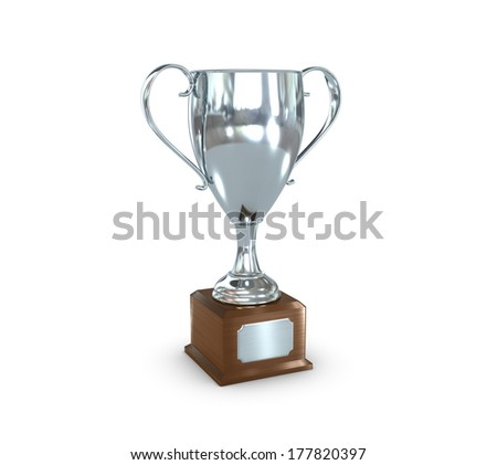 a silver trophy cup with insignia plate. - stock photo