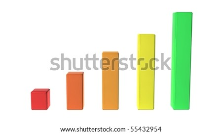 A simple bar graph showing a steady rise. - stock photo