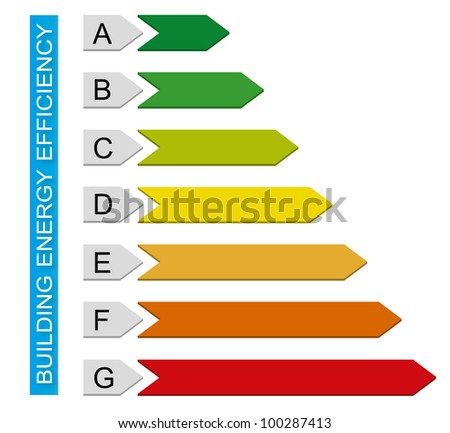 A simple building energy efficiency chart - stock photo