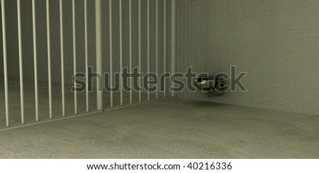 a simple metal toilet sits in the corner of a prison cell - stock photo
