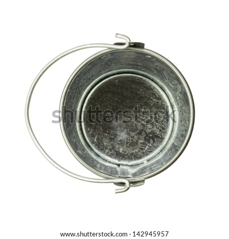 A simple tin bucket, top view, isolated - stock photo