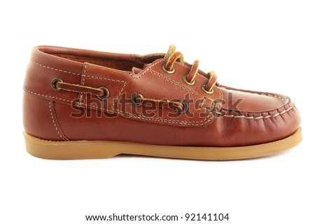A single boat shoe or top-sider, isolated on a white background. - stock photo