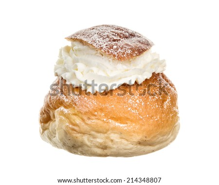 A single cream bun. Typically pastries eaten in Sweden during February every year. - stock photo