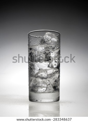 A single glass of iced water - stock photo