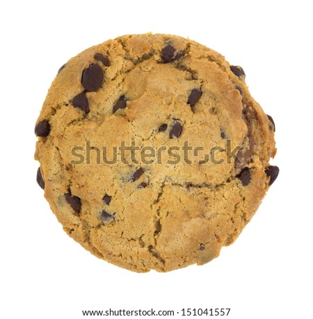 A single hazelnut cr�¨me filled nougat chocolate chip cookie on a white background. - stock photo