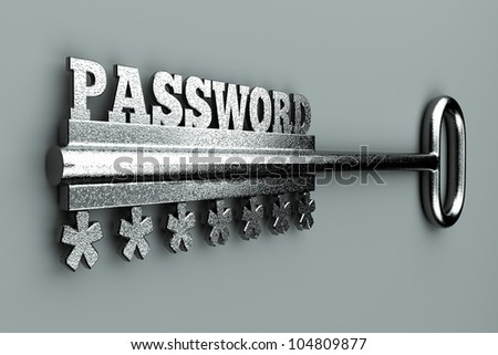"a single key with word  ""password"" as a concept - stock photo"