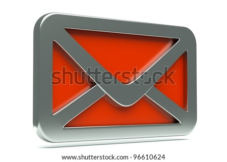 a single mail icon, creative envelope isolated  on white - stock photo